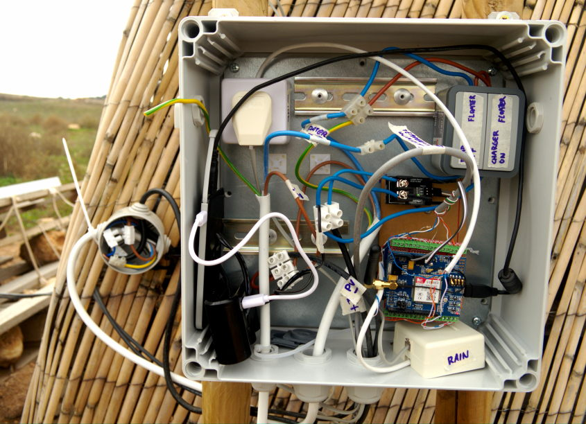 The weather station electronics in the field, after assembly