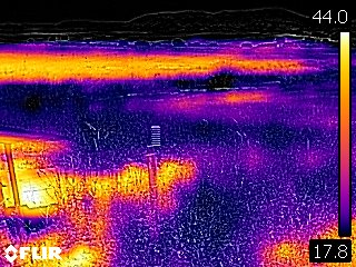 Thermal infrared image of the weather station site at Camp Altiplano, early June around mid-day